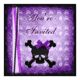 Purple & Black Skulls Ribbon & Glitter Invites