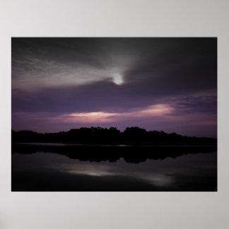 Purple black sky black water posters