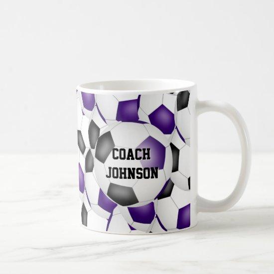 purple black soccer school team coach gift coffee mug