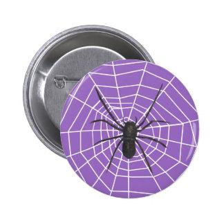 Purple/Black Spider Halloween Pinback Button