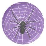 Purple/Black Spider Halloween Plate