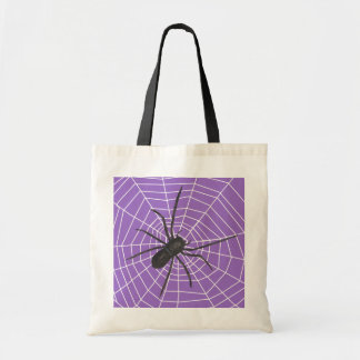 Purple/Black Spider Halloween Tote Bag