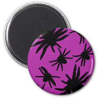 Purple / Black Spiders 2 Inch Round Magnet