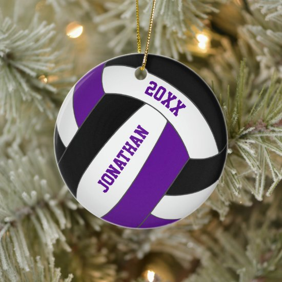 purple black sports team colors boys volleyball ceramic ornament