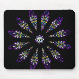 Purple Black Stained Glass Mandala Mousepad