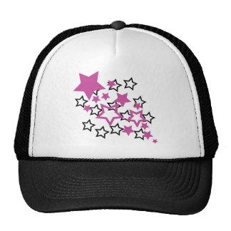 purple black stars mesh hat