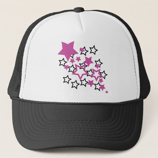 purple black stars trucker hat