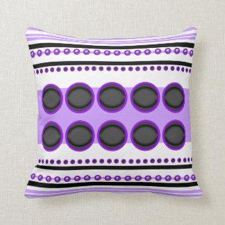 Purple black stripes circles funky throw pillows