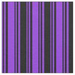 [ Thumbnail: Purple & Black Stripes/Lines Pattern Fabric ]