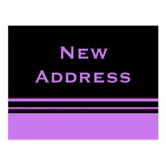 purple black stripes New Address Postcard