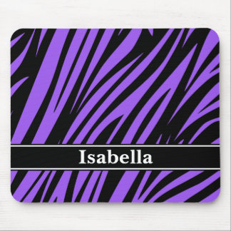 Purple Black Stripes Pattern Mouse Pad