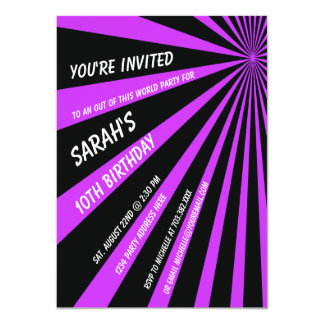 Purple Black Sun Beams Birthday Party Invitation