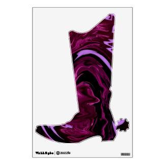 Purple Black swirl Cowboy Boot Wall Decal