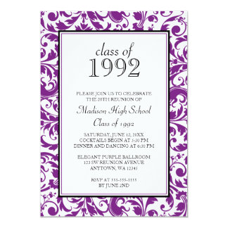 Purple Black Swirl Damask Class Reunion Invitation