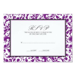 Purple Black Swirl Damask Wedding Response Card
