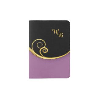 Purple-black Swirl with Initial Passport Holder