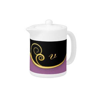 Purple-black Swirl with Initial Teapot