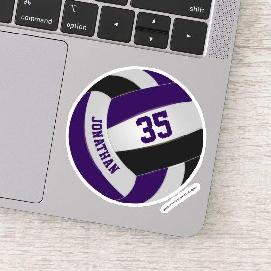 purple black team colors girls boys volleyball sticker