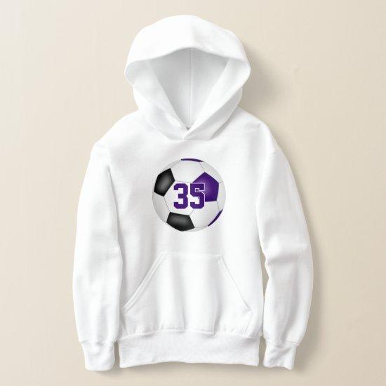 purple black team colors jersey number soccer hoodie