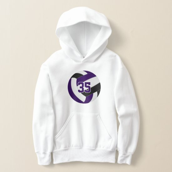 purple black team colors jersey number volleyball hoodie