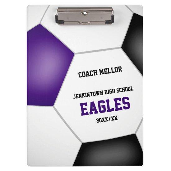 purple black team colors personalized soccer coach clipboard