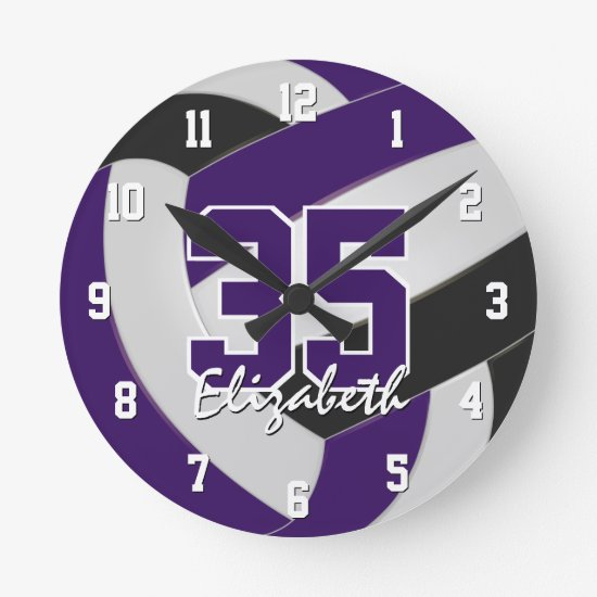 purple black team colors players name volleyball round clock