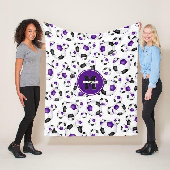 purple black team colors soccer balls pattern fleece blanket
