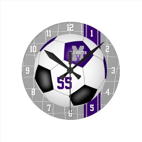 purple black team colors varsity stripes soccer round clock