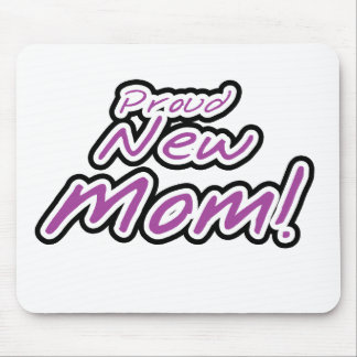 Purple/Black Text Proud New Mom Mouse Pad