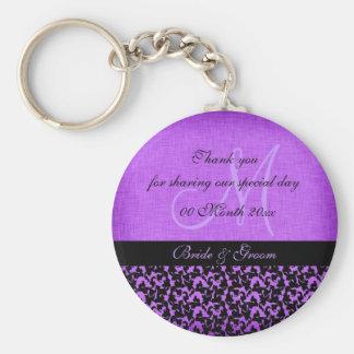 Purple black thank you wedding damask key chain