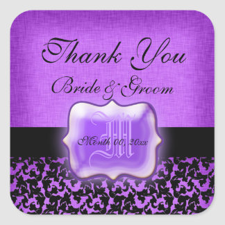"Purple black ""thank you"" wedding damask square sticker"