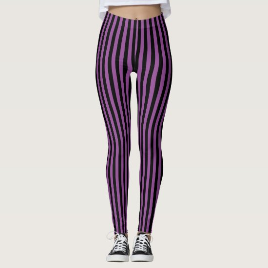 Purple Black Vertical Stripe Halloween Leggings