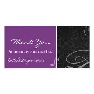 Purple Black Vintage Wedding Thank You Photo Cards