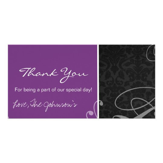 Purple Black Vintage Wedding Thank You Photo Cards
