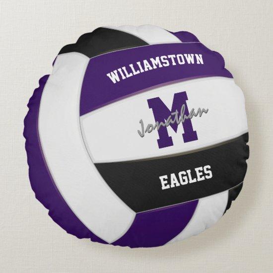 purple black volleyball kids sports room decor round pillow