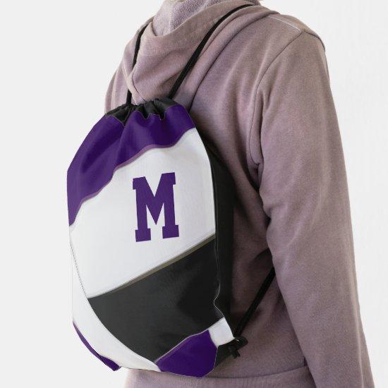 purple black volleyball team colors boys girls drawstring bag