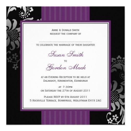 Purple Black Wedding Invitation With RSVP Text 13 Cm X 13 Cm Square Inv