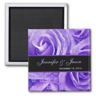 Purple & Black Wedding Lace Rose Bouquet 2 Inch Square Magnet