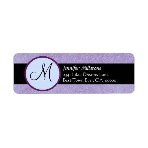 PURPLE & BLACK Wedding Monogram Address Label
