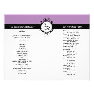 Purple Black Wedding Program Chic Monogrammed