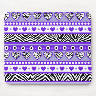 Purple black & white abstract zebra hearts and dot mouse pad