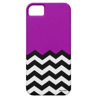 Purple, Black & White Chevron Pattern Phone Case iPhone 5 Cover