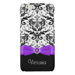 Purple Black White Damask Case Savvy iPhone 6 Case Glossy iPhone 6 Case