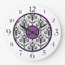 "Purple Black & White Damask Elegant 10.75"" Clock"