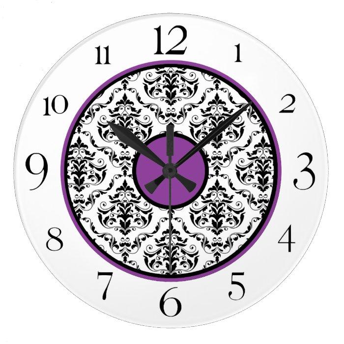 "Purple Black & White Damask Elegant 10.75"" Clock"