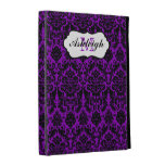 Purple Black White Damask iPad (1,2,3) Folio iPad Folio Covers