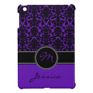 Purple, Black, White Damask iPad Mini Case