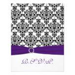 Purple, Black, White Damask RSVP Card