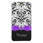 Purple Black White Damask Savvy iPhone 6 Plus Case Glossy iPhone 6 Plus Case