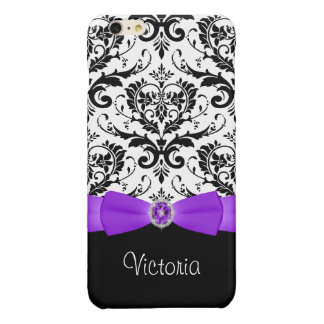 Purple Black White Damask Savvy iPhone 6 Plus Case Glossy iPhone 6 Plus Case